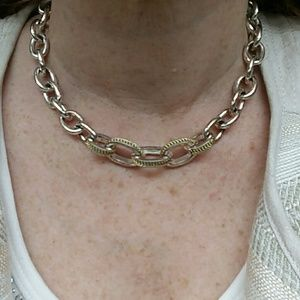 Link choker and silver tone with gold accents